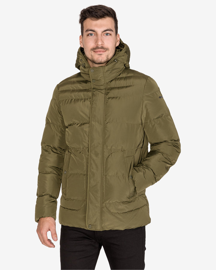 Zelená zimní prošívaná pánská bunda Geox