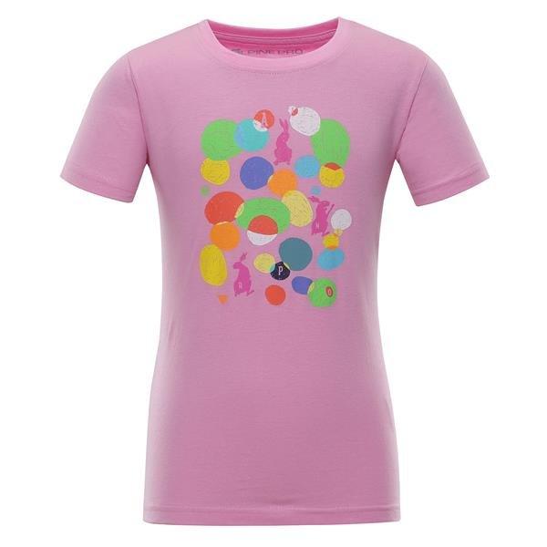 Růžové dívčí tričko s krátkým rukávem Alpine Pro