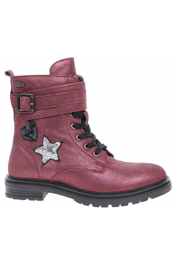 Červené dívčí kotníkové boty s.Oliver