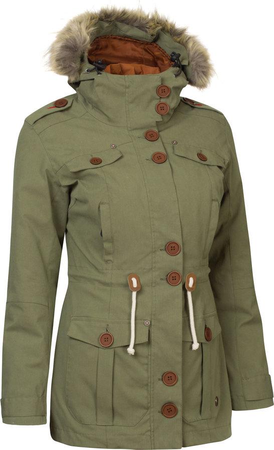 Zelená zimní dámská bunda s kapucí Woox - velikost 42