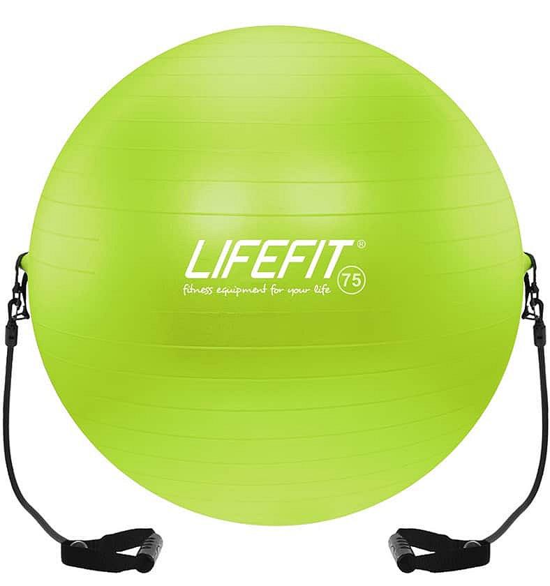 Zelený gymnastický míč s gumovými expandéry Lifefit - průměr 75 cm