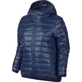 Modrá zimní dámská bunda s kapucí Nike