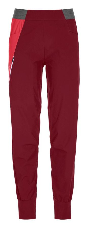 Červené softshellové dámské turistické kalhoty Ortovox