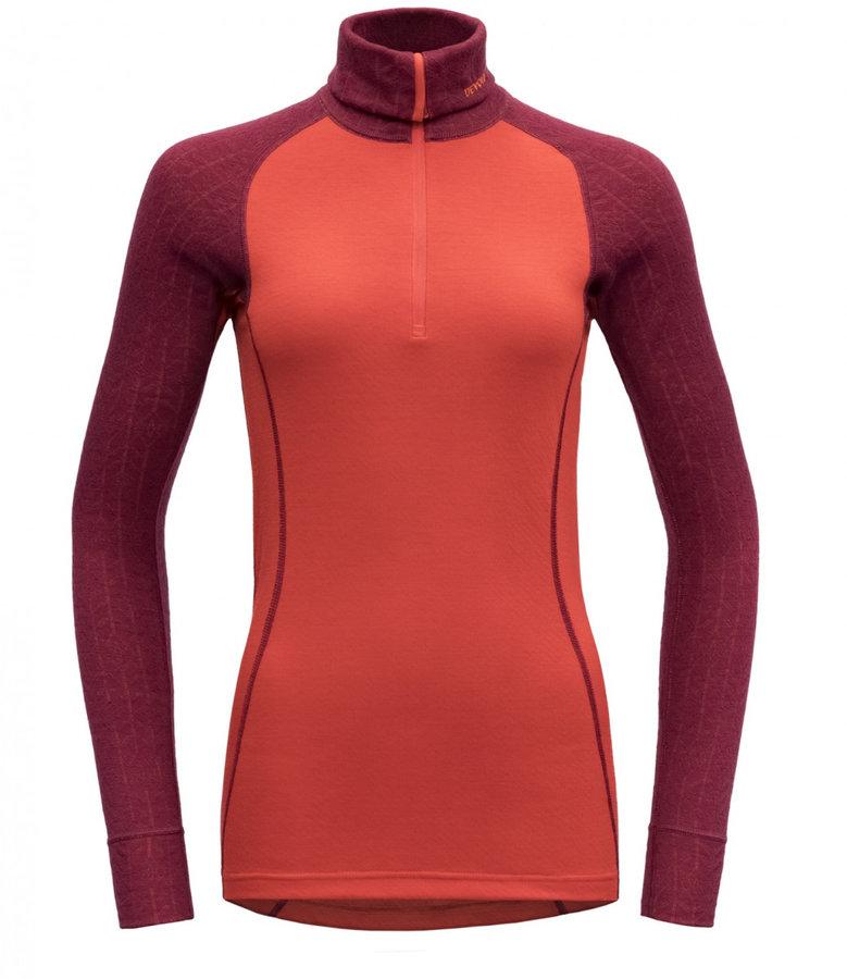 Červeno-oranžové dámské funkční tričko s dlouhým rukávem Devold