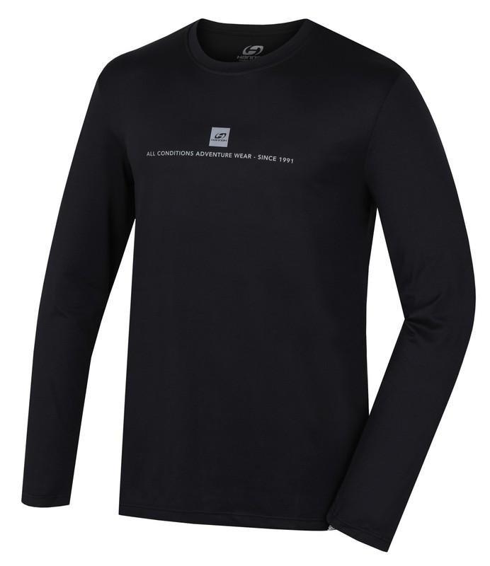 Černé pánské tričko s dlouhým rukávem Hannah - velikost XL
