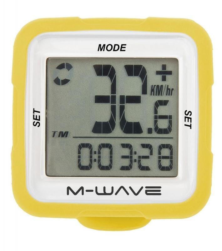 Cyklopočítač - M-WAVE SILIKON 14 FUNKCÍ žlutý cyklocomputer