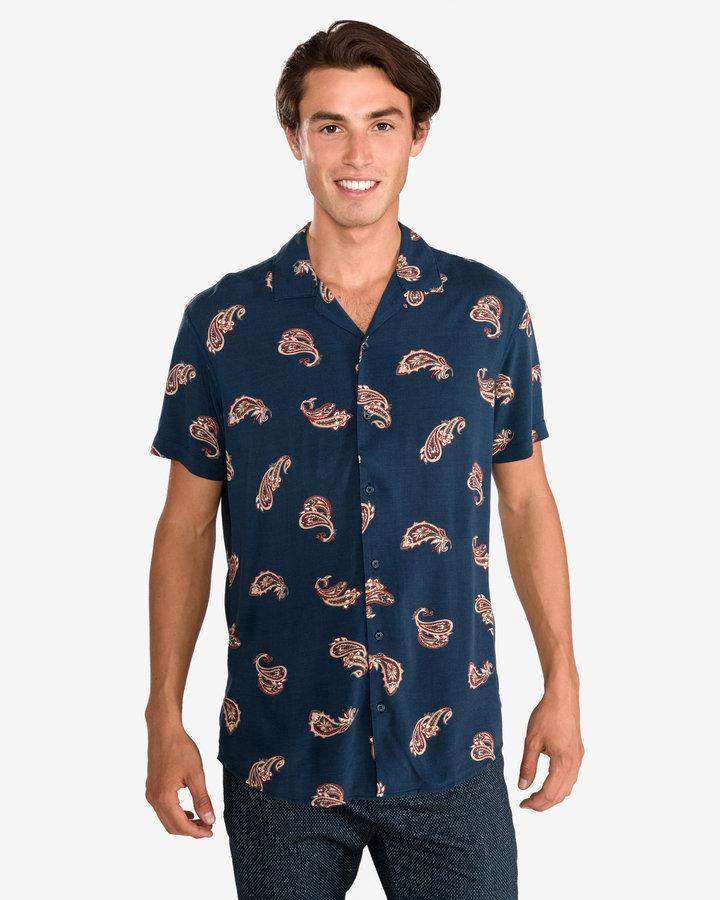 Modrá pánská košile s krátkým rukávem Jack & Jones - velikost L