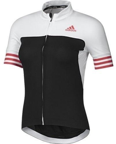 Bílo-černý dámský cyklistický dres Adidas - velikost XS