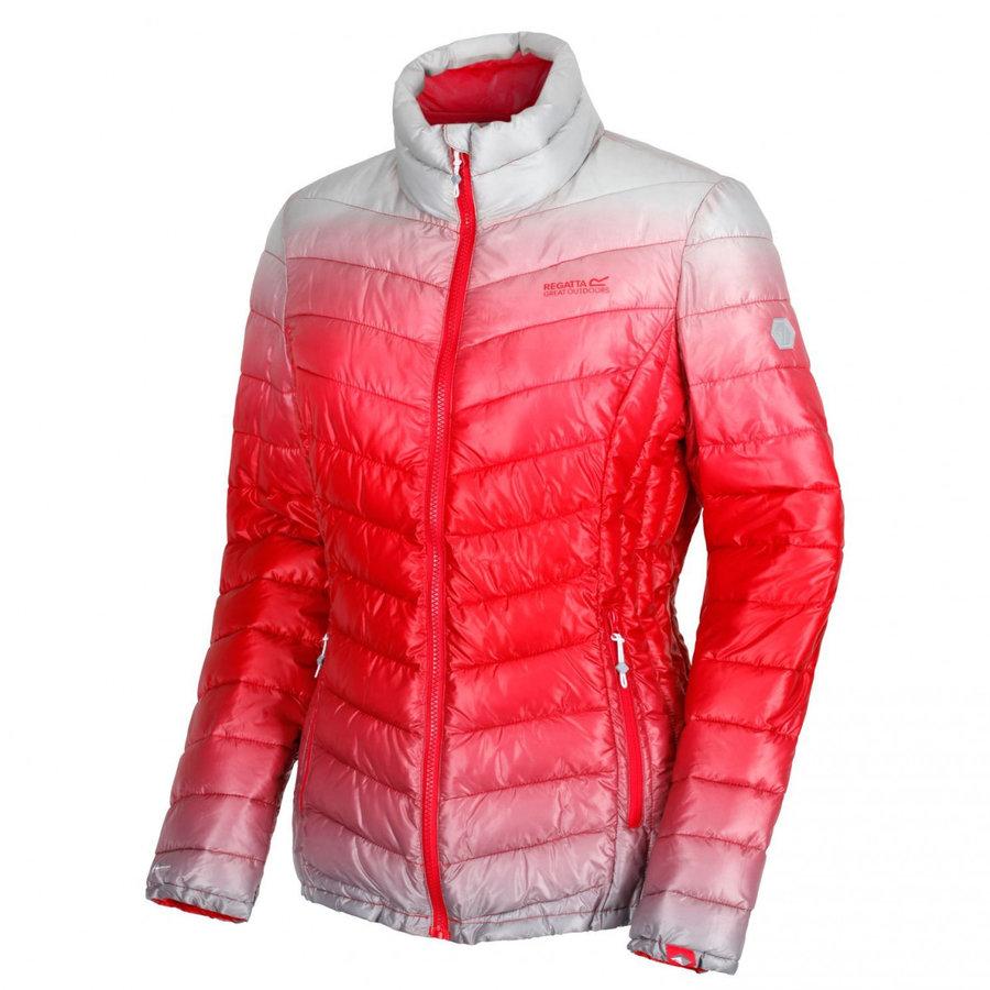 Bílo-červená zimní dámská bunda s kapucí Regatta