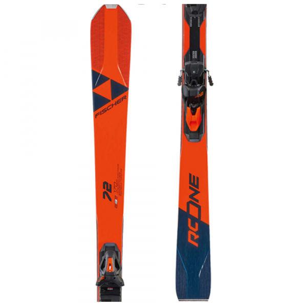 Červené lyže s vázáním Fischer