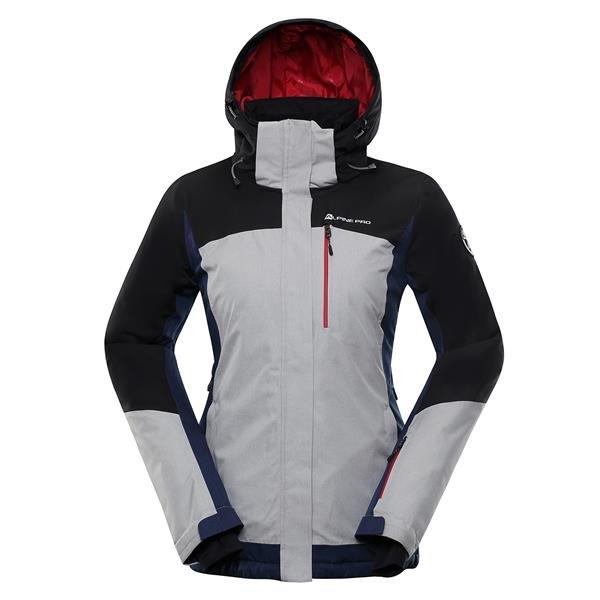 Bílo-černá zimní dámská bunda s kapucí Alpine Pro - velikost XL