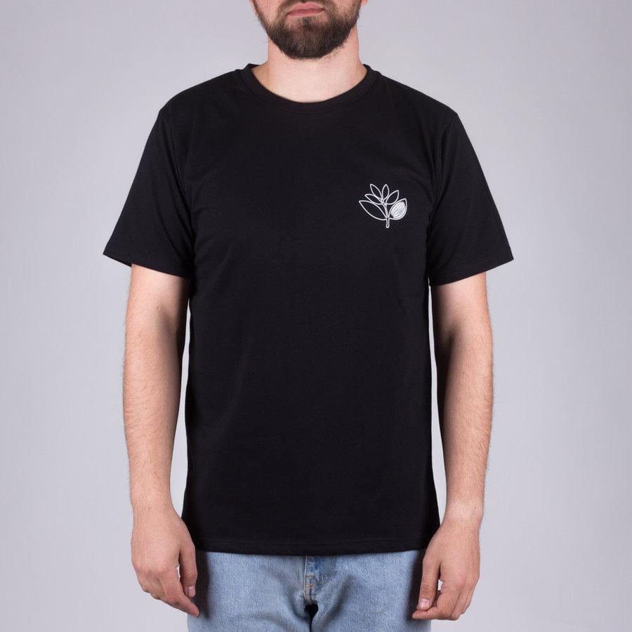 Černé pánské tričko s krátkým rukávem s potiskem Plant Outline Tee, Magenta