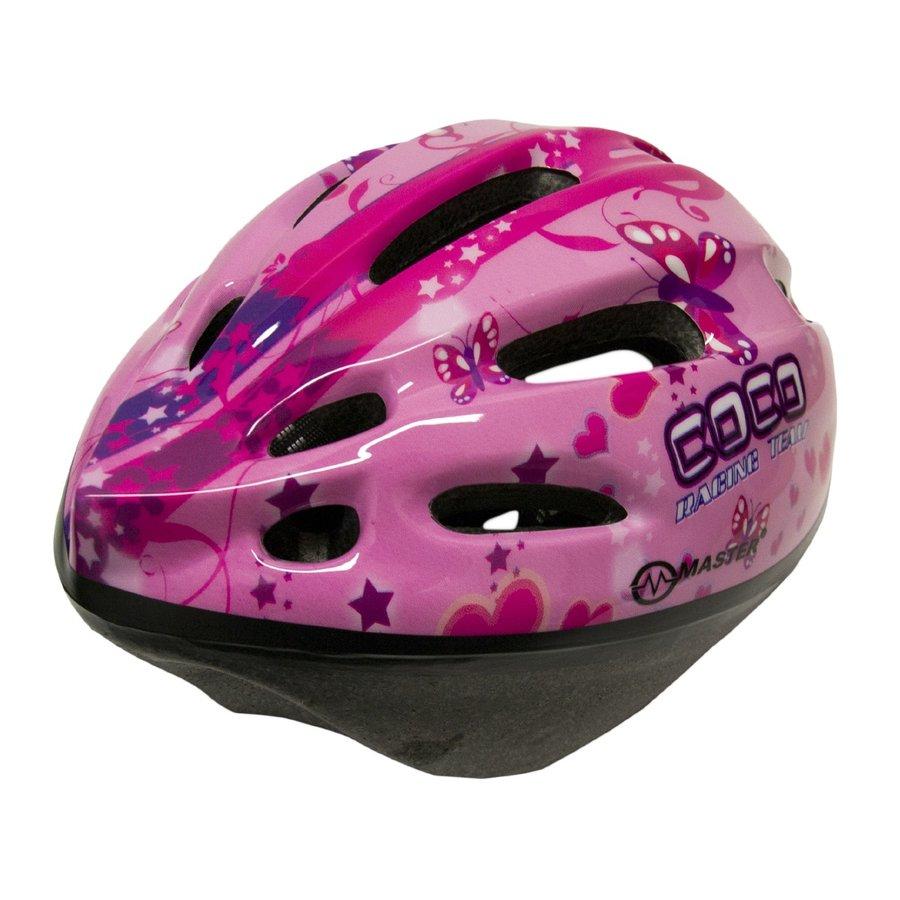 Růžová dětská cyklistická helma Master - velikost 51-56 cm