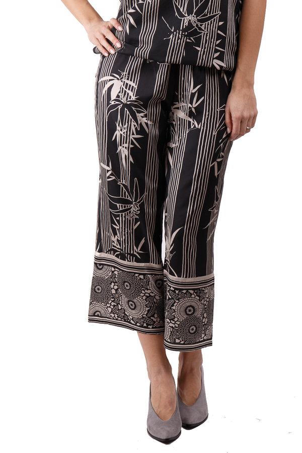 Kalhoty - Deha černé 3/4 kalhoty s bílými motivy - S