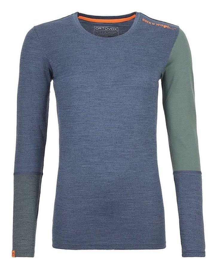 Modro-zelené dámské termo tričko s dlouhým rukávem Ortovox