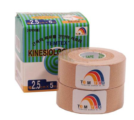 Béžová tejpovací páska TEMTEX - délka 5 m a šířka 2,5 cm