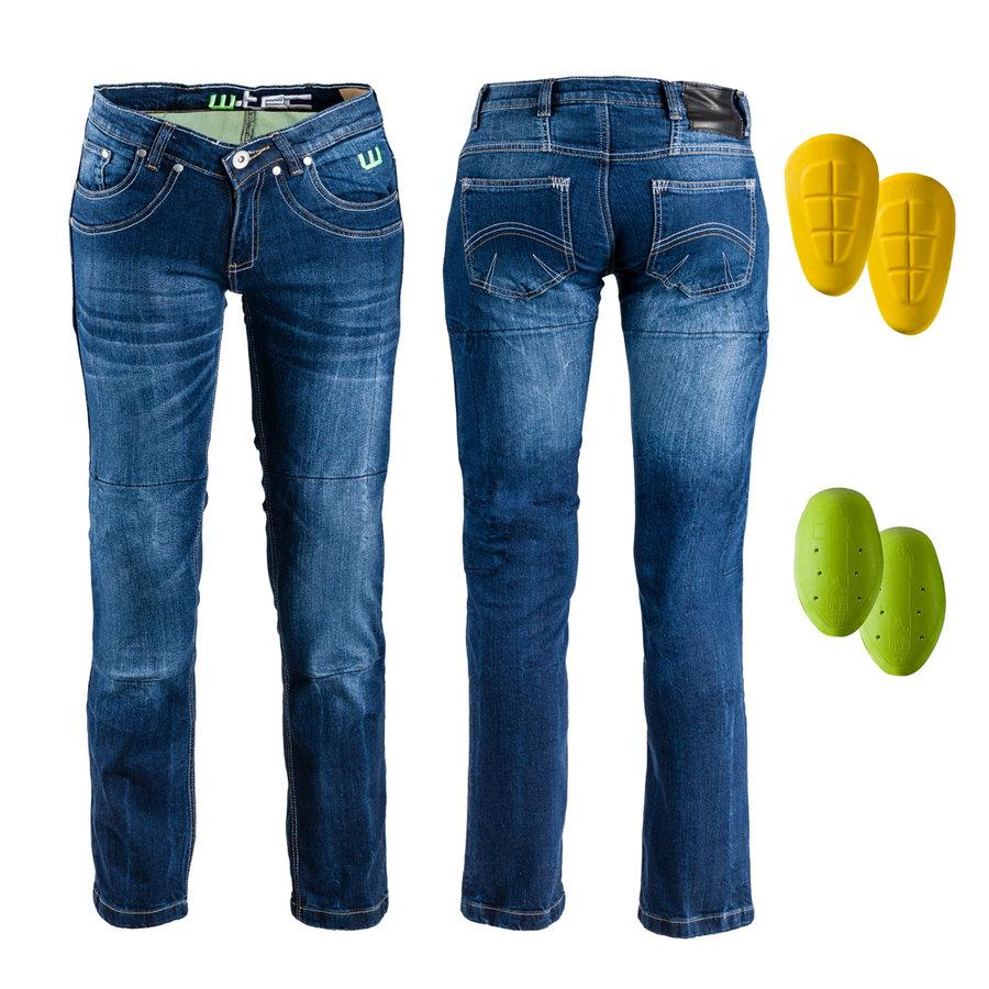 Modré dámské motorkářské kalhoty B-2012 4d9dc5a4ab