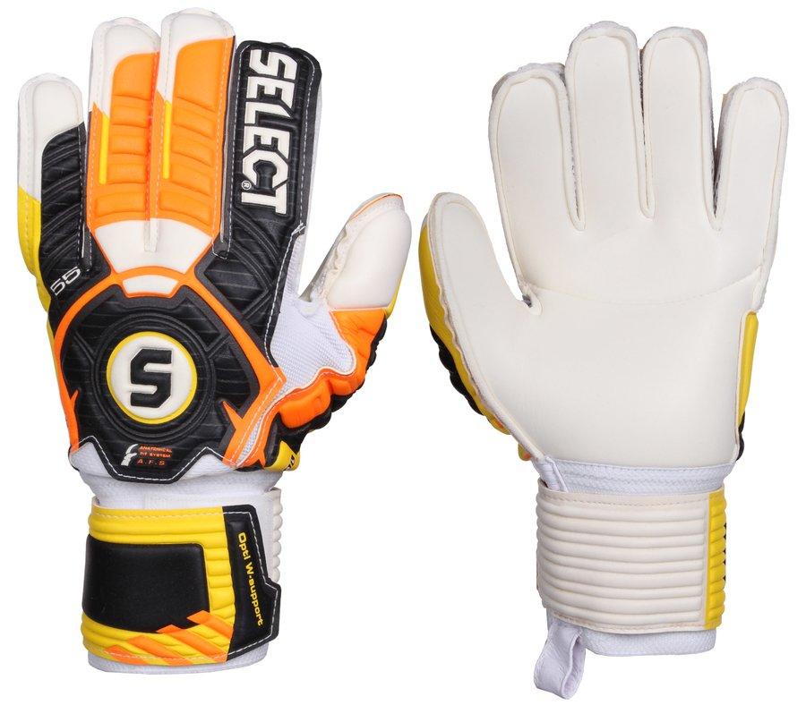 Černo-oranžové brankářské fotbalové rukavice 55 Xtra Force Grip, Select - velikost 8,5