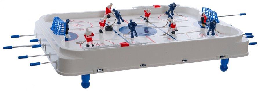 Stolní hokej - Teddies Hokej společenská hra 63x41cm plast/kov kovová táhla v krabici 73x43,5x8,5cm