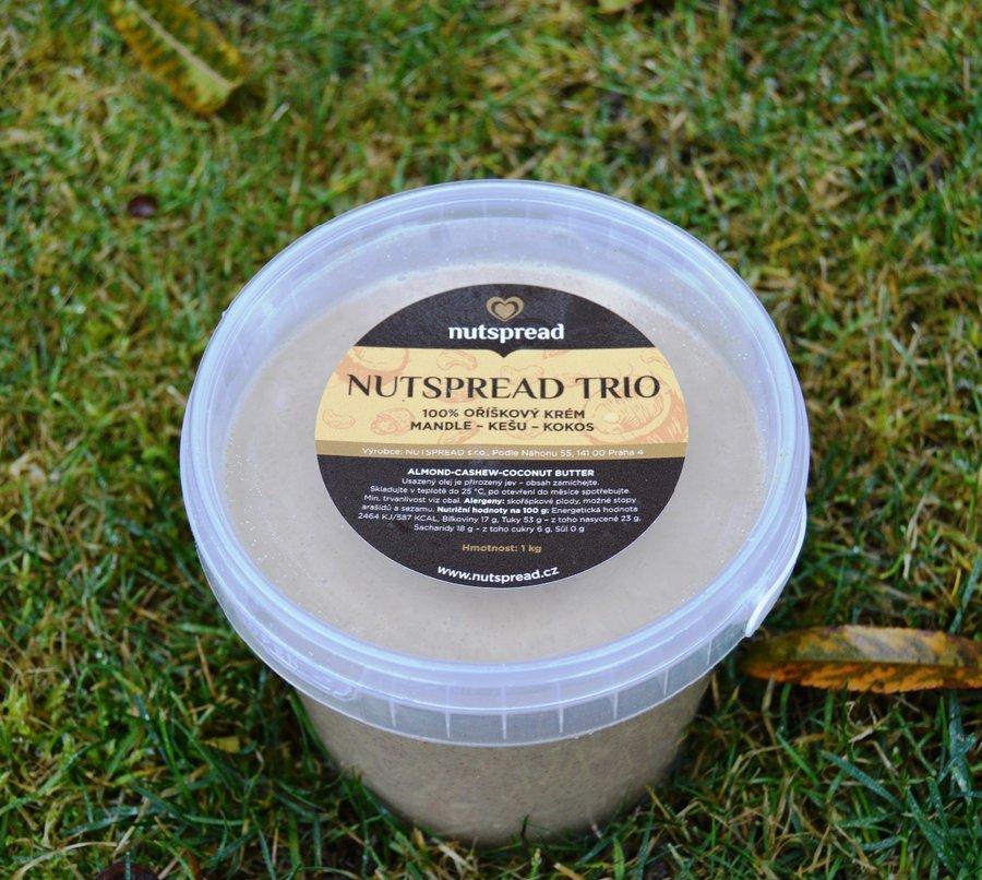 Máslo - Nutspread 100% oříškové máslo Trio Kešu, kokos a mandle 1000 g