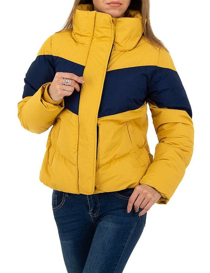 Žlutá zimní dámská bunda s kapucí