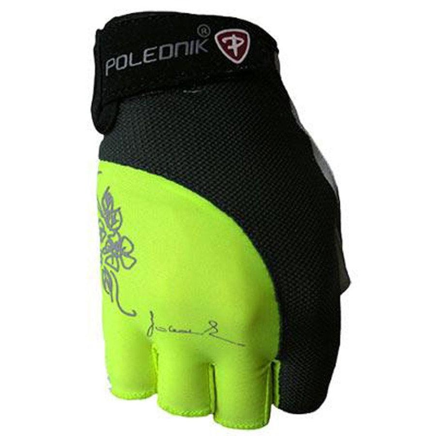 Černo-žluté dámské fitness rukavice Polednik