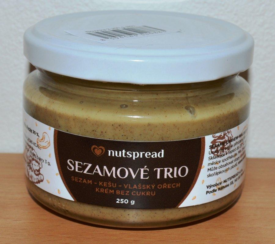 Máslo - 100% oříškové máslo Sezamové Trio NUTSPREAD 250 g