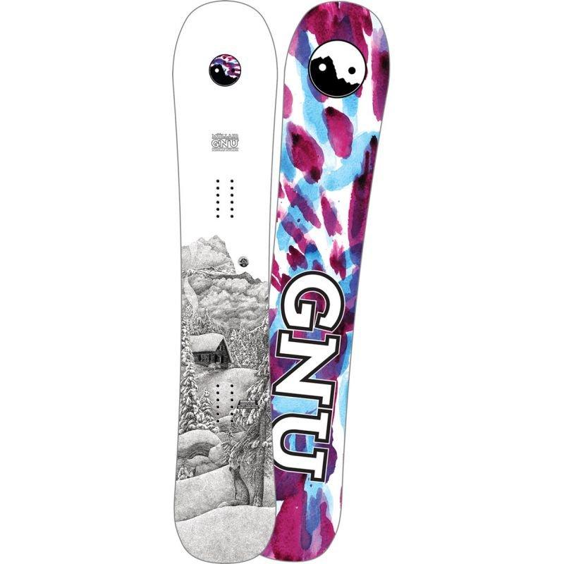 Bílý snowboard bez vázání GNU