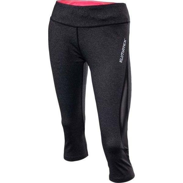 Černé 3/4 dámské běžecké kalhoty Klimatex