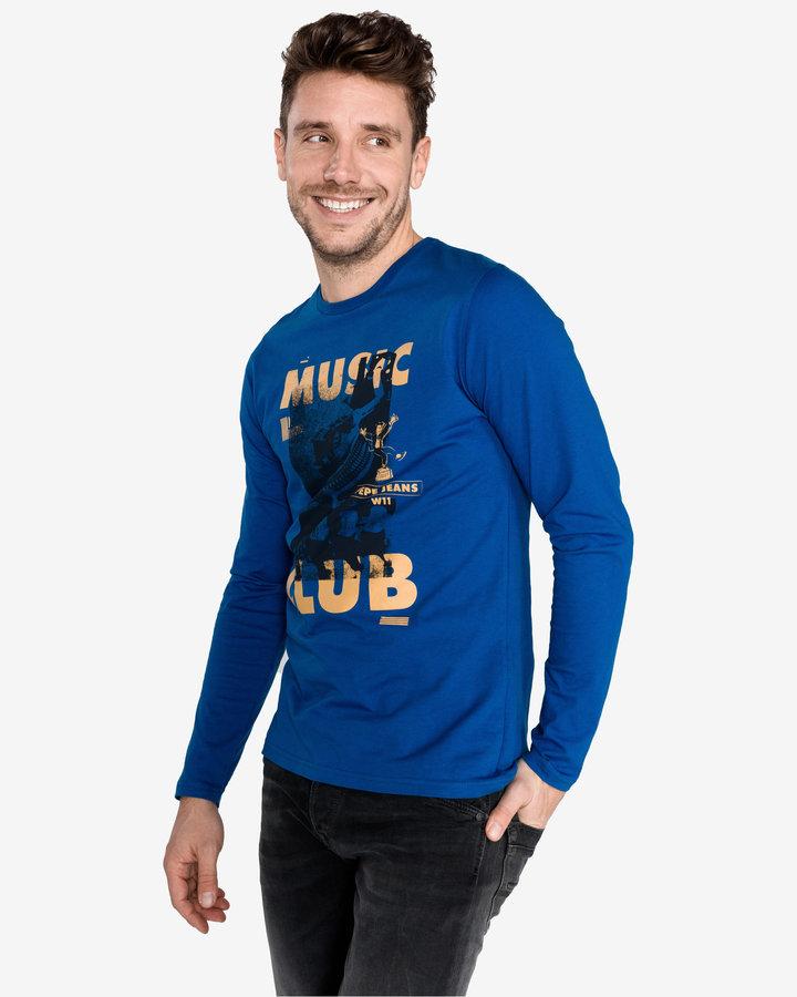 Modré pánské tričko s dlouhým rukávem Pepe Jeans