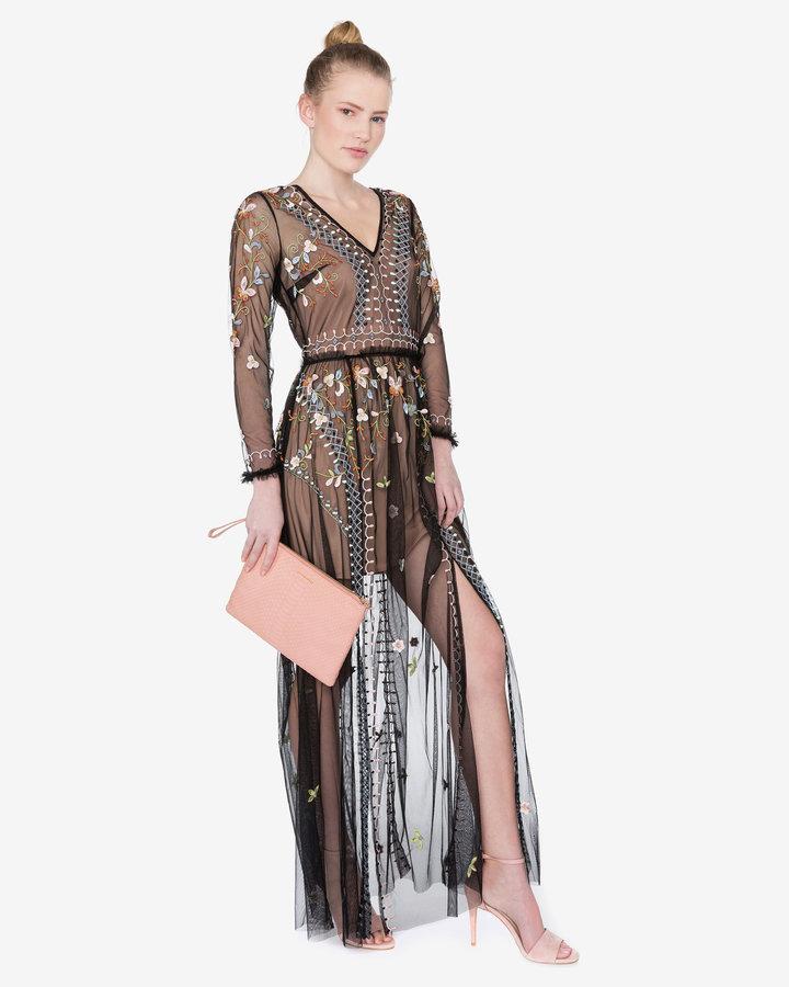 Béžovo-černé dámské šaty French Connection - velikost L
