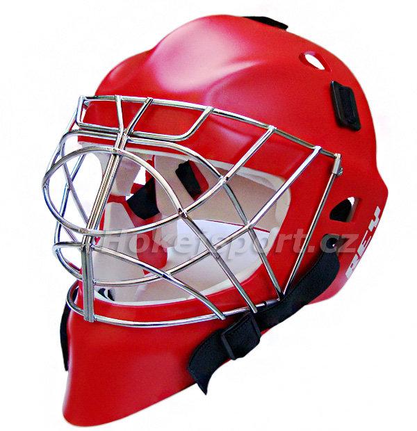 Červená brankářská hokejbalová maska - junior HOMG 016 PE Boy, Rey