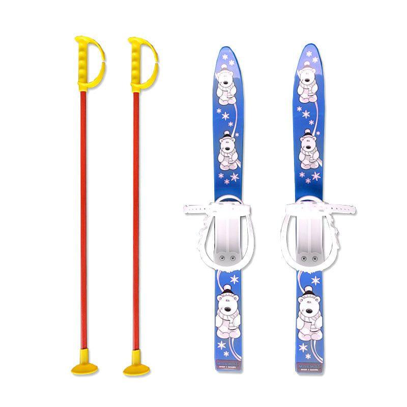 Modré dětské lyže s vázáním Master - délka 70 cm