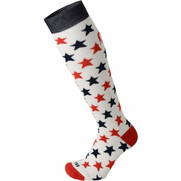 Bílo-červené chlapecké lyžařské ponožky Mico