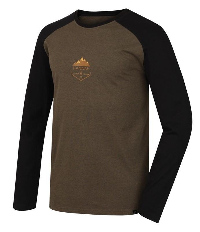 Černo-hnědé pánské tričko s dlouhým rukávem Hannah