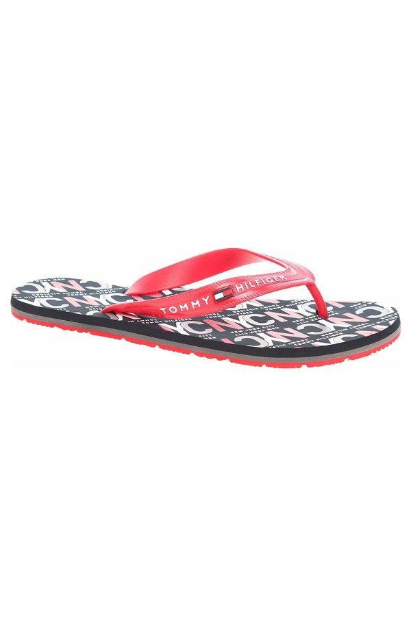 Červené pánské pantofle Tommy Hilfiger - velikost 43 EU
