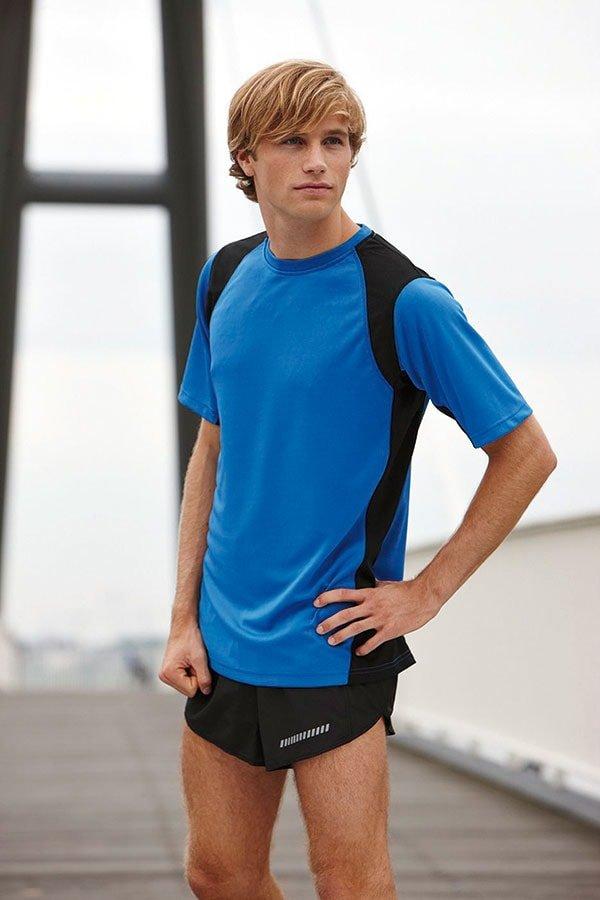 Modré pánské tričko s krátkým rukávem James & Nicholson - velikost 3XL