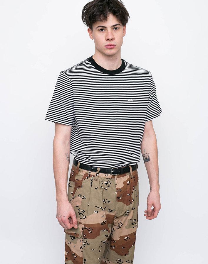 Bílo-černé pánské tričko s krátkým rukávem Obey - velikost M