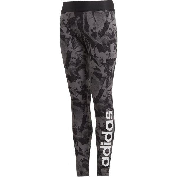 Černo-šedé dívčí legíny Adidas - velikost 128