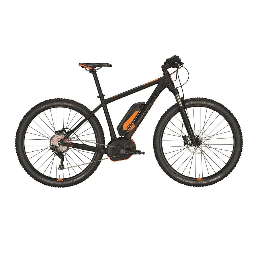 Černo-oranžové horské unisex elektrokolo EMR 429 2017, Conway