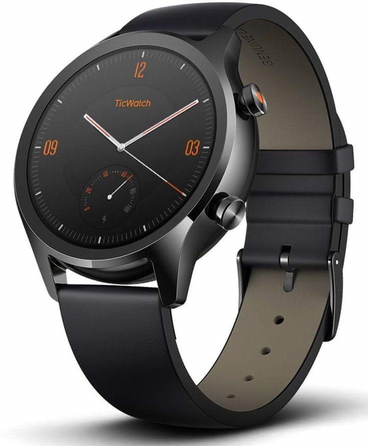 Černé analogové chytré hodinky C2, TICWATCH
