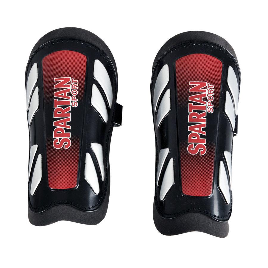 Černo-červené fotbalové chrániče holení Quick Kick, Spartan - velikost junior