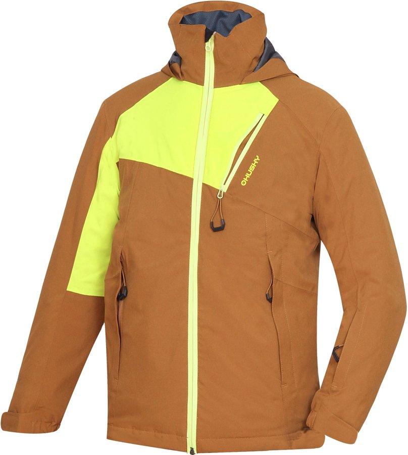 Hnědo-žlutá dětská lyžařská bunda Husky - velikost 152