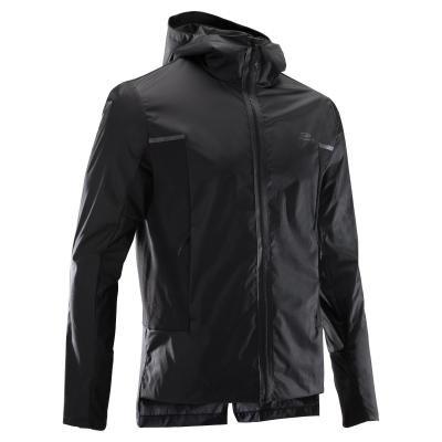 Černá větruvzdorná běžecká bunda Rain, Kalenji