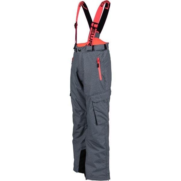 Růžovo-šedé dívčí snowboardové kalhoty Lewro