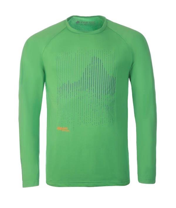Zelené pánské tričko s dlouhým rukávem Alpine Pro - velikost XXL