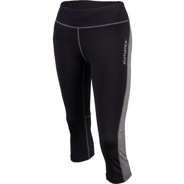 Černo-šedé 3/4 dámské běžecké kalhoty Klimatex