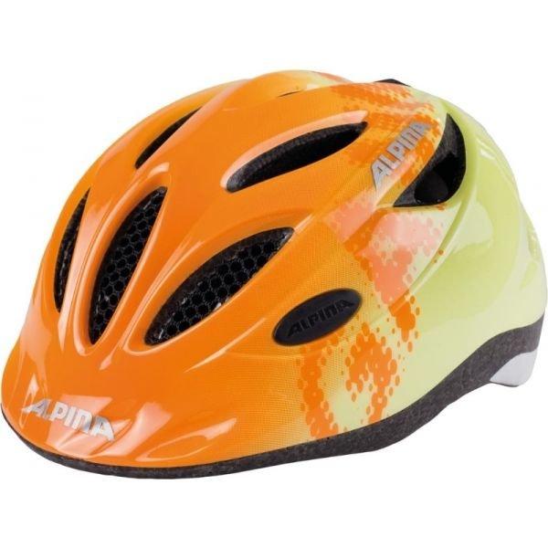 Oranžovo-žlutá dětská cyklistická helma Alpina - velikost 51-56 cm