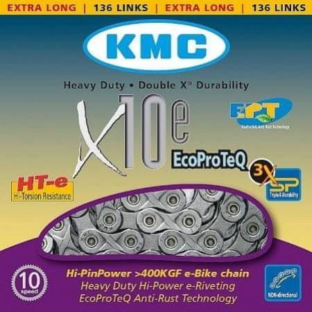 Řetěz na kolo - KMC řetěz X10EPT stříbrný BOX 136čl.