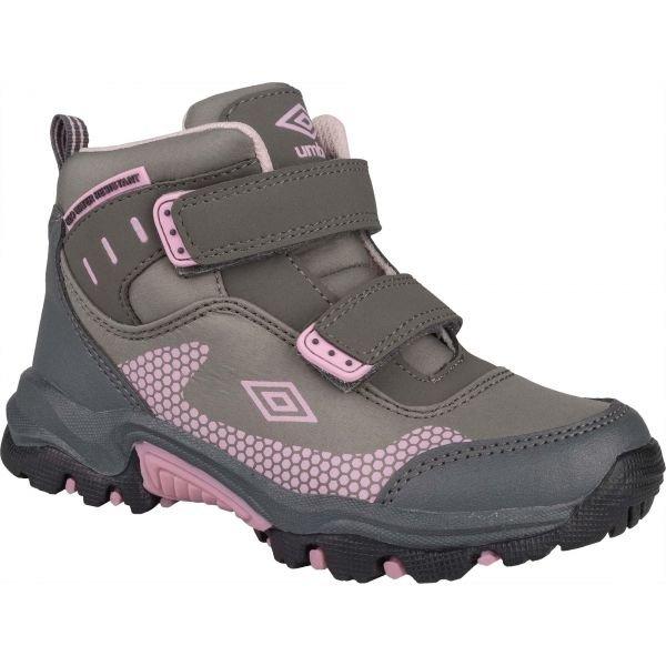 Růžovo-šedé chlapecké trekové boty Umbro